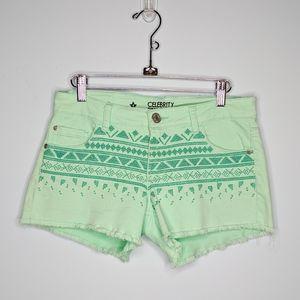 Green Aztec Jean shorts celebrity pink festival
